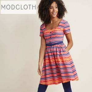 Modcloth Cycling In Seville Fit & Flare Dress L
